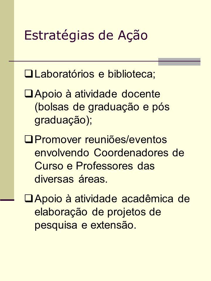 Estratégias de Ação Laboratórios e biblioteca; Apoio à atividade docente (bolsas de graduação e pós graduação); Promover reuniões/eventos envolvendo C