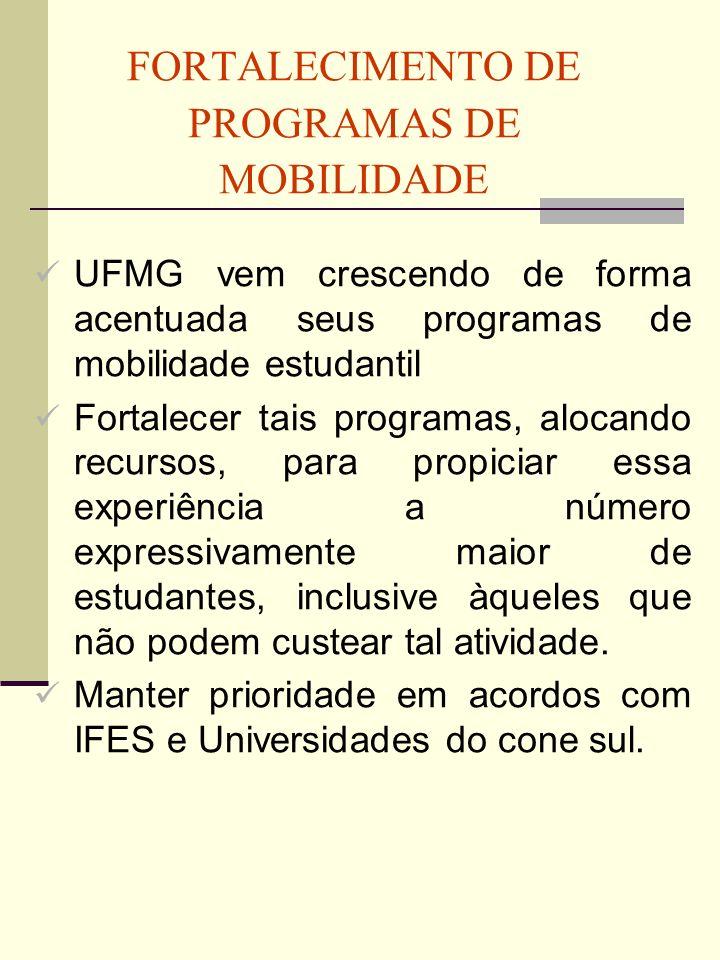 FORTALECIMENTO DE PROGRAMAS DE MOBILIDADE UFMG vem crescendo de forma acentuada seus programas de mobilidade estudantil Fortalecer tais programas, alo