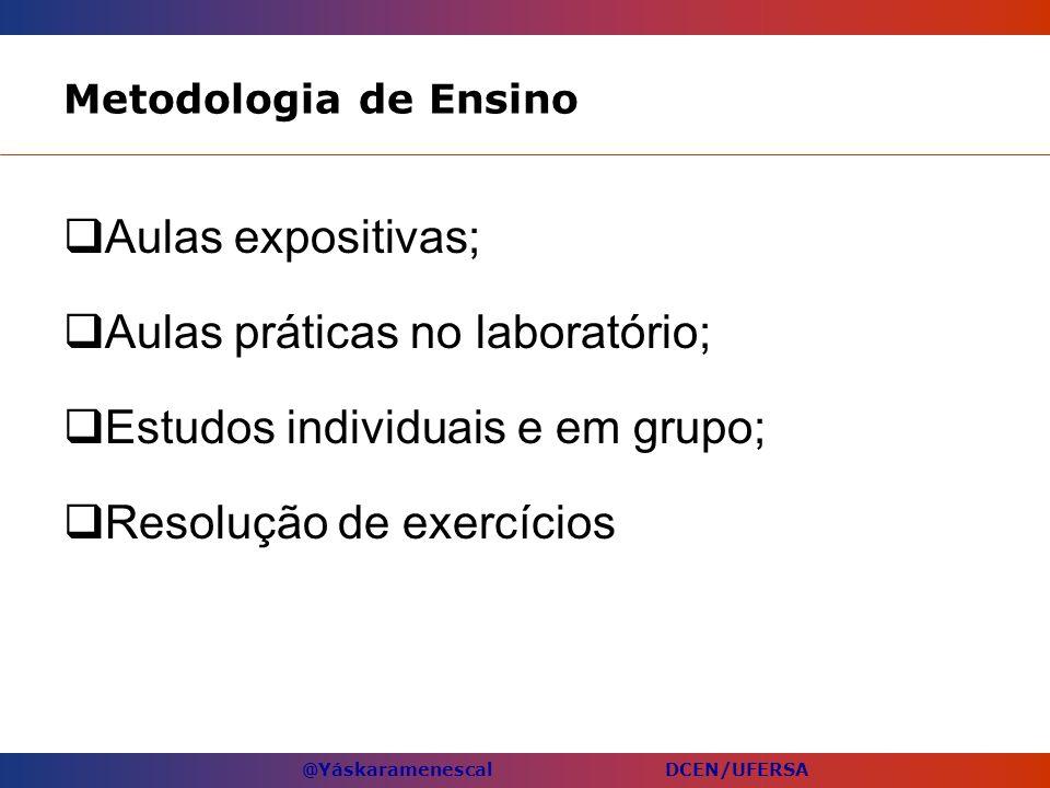 @Yáskaramenescal DCEN/UFERSA Metodologia de Ensino Aulas expositivas; Aulas práticas no laboratório; Estudos individuais e em grupo; Resolução de exer