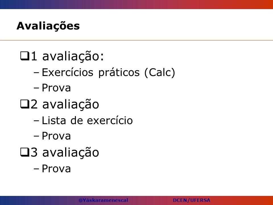 @Yáskaramenescal DCEN/UFERSA Avaliações 1 avaliação: –Exercícios práticos (Calc) –Prova 2 avaliação –Lista de exercício –Prova 3 avaliação –Prova