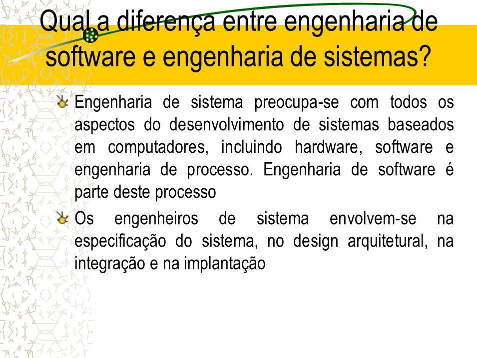 Qual a diferença entre engenharia de software e engenharia de sistemas? Engenharia de sistema preocupa-se com todos os aspectos do desenvolvimento de