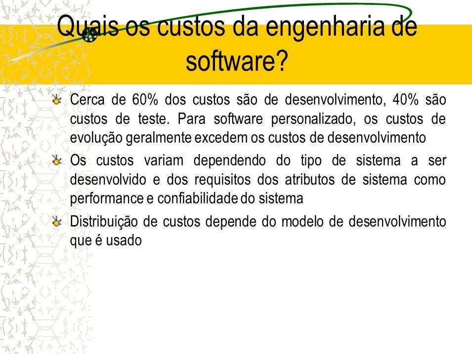 Quais os custos da engenharia de software? Cerca de 60% dos custos são de desenvolvimento, 40% são custos de teste. Para software personalizado, os cu