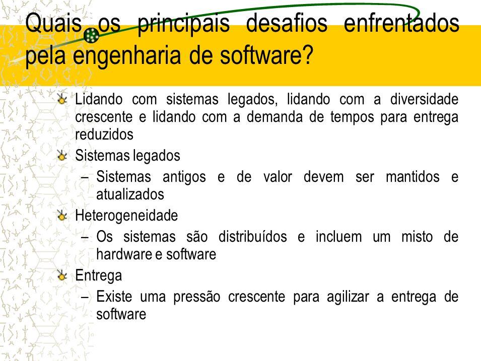 Quais os principais desafios enfrentados pela engenharia de software? Lidando com sistemas legados, lidando com a diversidade crescente e lidando com