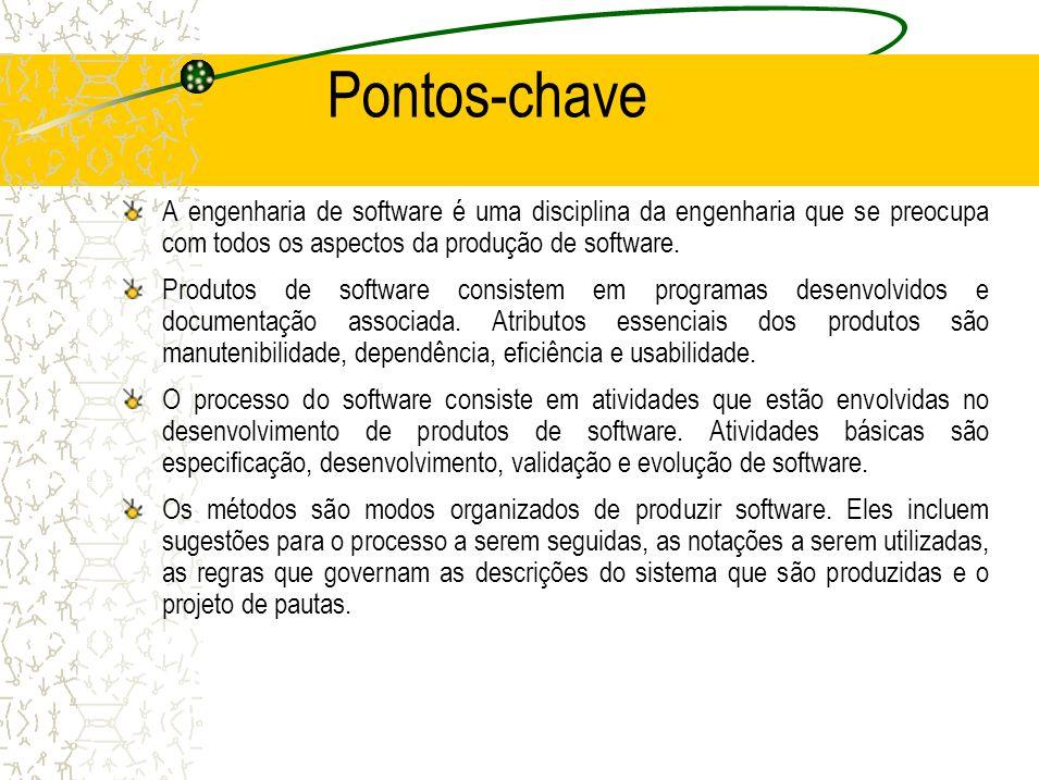 Pontos-chave A engenharia de software é uma disciplina da engenharia que se preocupa com todos os aspectos da produção de software. Produtos de softwa