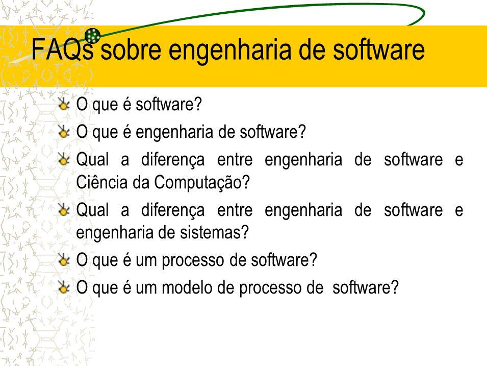 FAQs sobre engenharia de software O que é software? O que é engenharia de software? Qual a diferença entre engenharia de software e Ciência da Computa