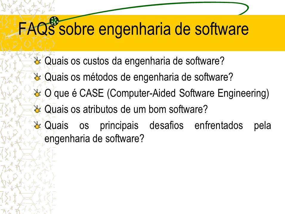 FAQs sobre engenharia de software Quais os custos da engenharia de software? Quais os métodos de engenharia de software? O que é CASE (Computer-Aided