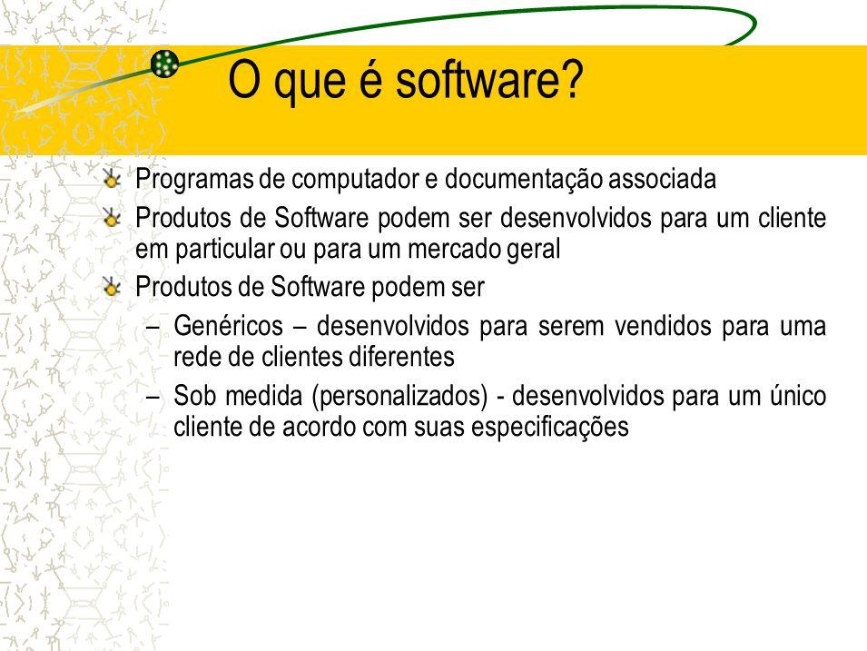 O que é software? Programas de computador e documentação associada Produtos de Software podem ser desenvolvidos para um cliente em particular ou para