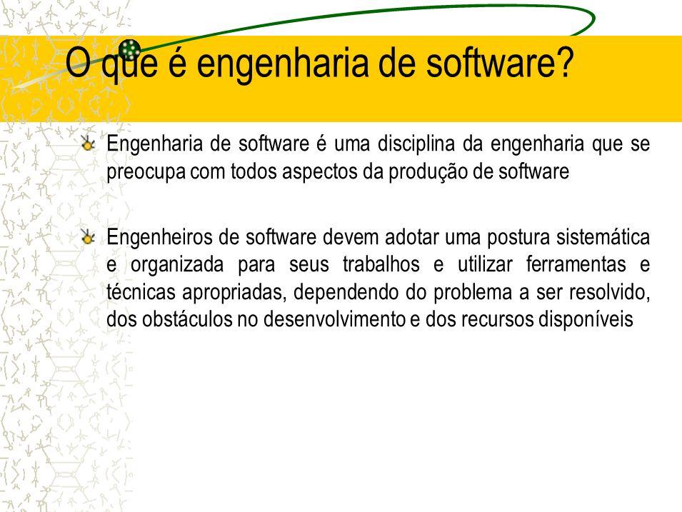 O que é engenharia de software? Engenharia de software é uma disciplina da engenharia que se preocupa com todos aspectos da produção de software Engen