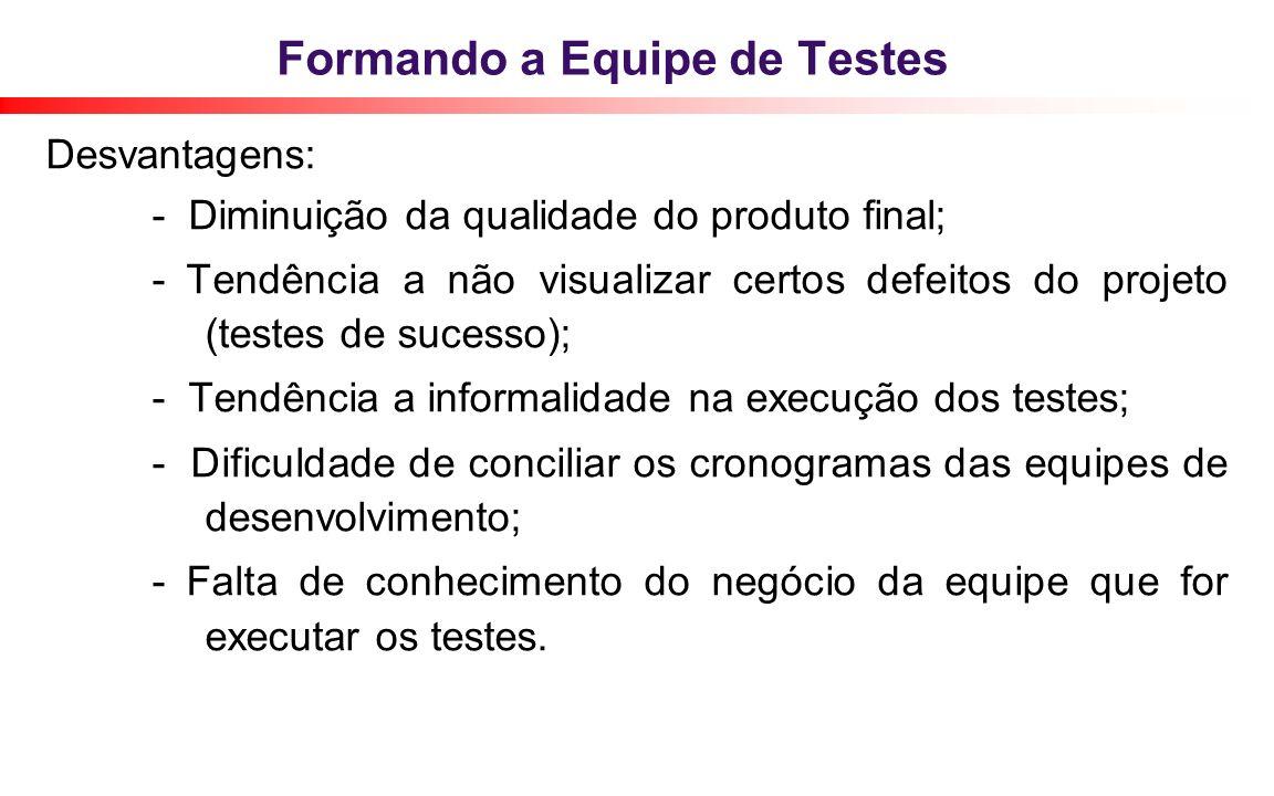 Formando a Equipe de Testes Desvantagens: - Diminuição da qualidade do produto final; - Tendência a não visualizar certos defeitos do projeto (testes