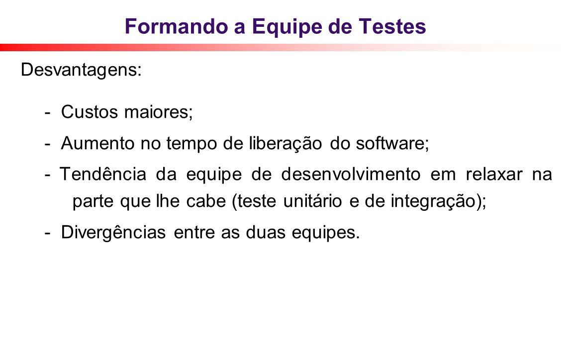 Formando a Equipe de Testes Desvantagens: - Custos maiores; - Aumento no tempo de liberação do software; - Tendência da equipe de desenvolvimento em r