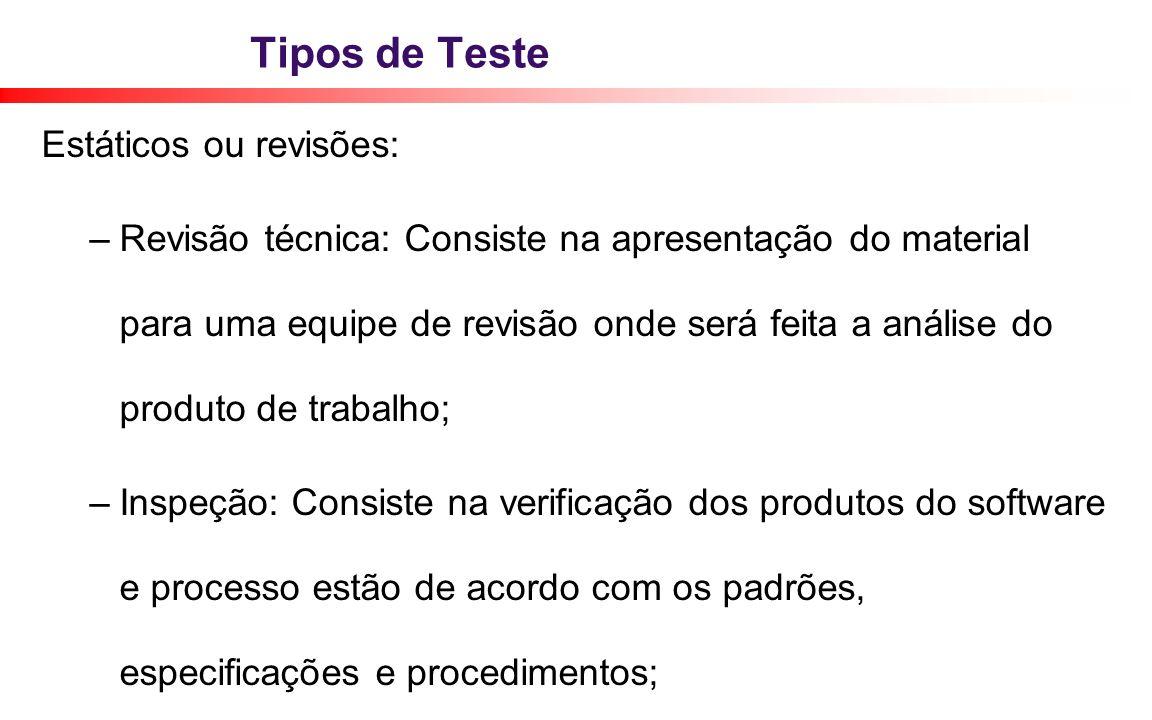 Tipos de Teste Estáticos ou revisões: – Revisão técnica: Consiste na apresentação do material para uma equipe de revisão onde será feita a análise do