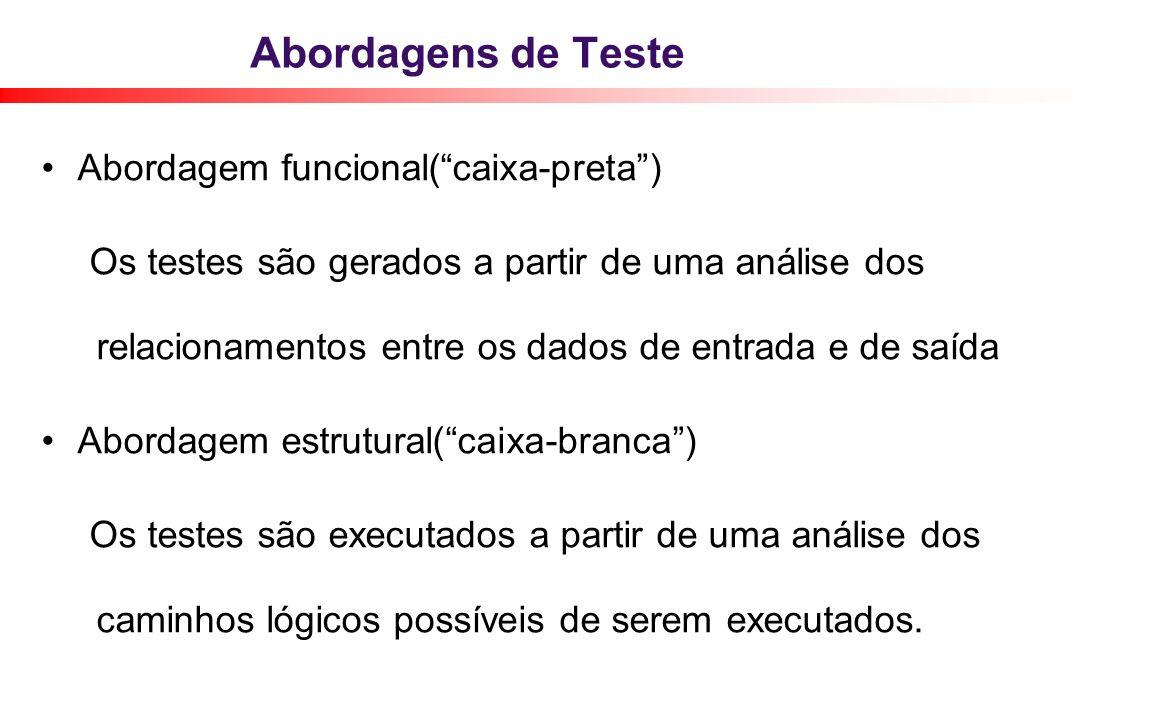 Abordagens de Teste Abordagem funcional(caixa-preta) Os testes são gerados a partir de uma análise dos relacionamentos entre os dados de entrada e de