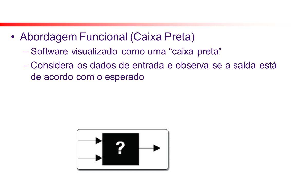 Abordagem Funcional (Caixa Preta) –Software visualizado como uma caixa preta –Considera os dados de entrada e observa se a saída está de acordo com o