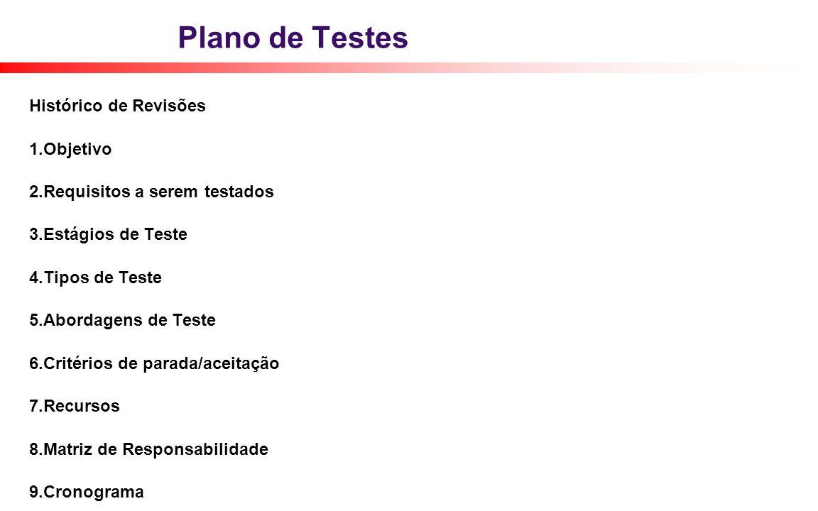 Plano de Testes Histórico de Revisões 1.Objetivo 2.Requisitos a serem testados 3.Estágios de Teste 4.Tipos de Teste 5.Abordagens de Teste 6.Critérios