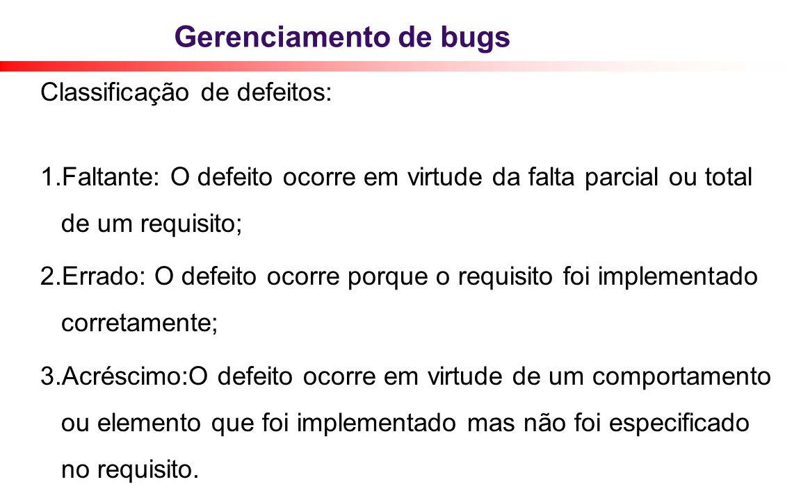 Gerenciamento de bugs Classificação de defeitos: 1.Faltante: O defeito ocorre em virtude da falta parcial ou total de um requisito; 2. Errado: O defei