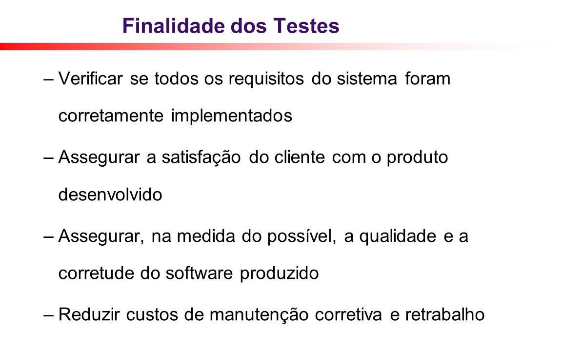 Finalidade dos Testes – Verificar se todos os requisitos do sistema foram corretamente implementados – Assegurar a satisfação do cliente com o produto