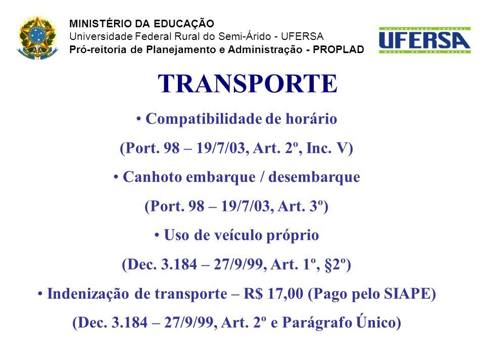 TRANSPORTE Compatibilidade de horário (Port. 98 – 19/7/03, Art. 2º, Inc. V) Canhoto embarque / desembarque (Port. 98 – 19/7/03, Art. 3º) Uso de veícul
