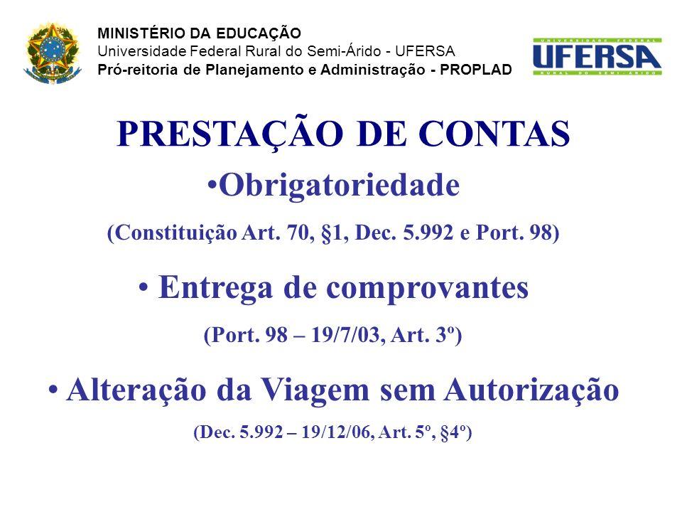 PRESTAÇÃO DE CONTAS Obrigatoriedade (Constituição Art. 70, §1, Dec. 5.992 e Port. 98) Entrega de comprovantes (Port. 98 – 19/7/03, Art. 3º) Alteração