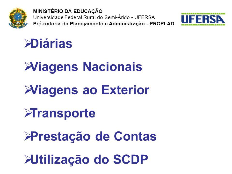 Diárias Viagens Nacionais Viagens ao Exterior Transporte Prestação de Contas Utilização do SCDP MINISTÉRIO DA EDUCAÇÃO Universidade Federal Rural do S