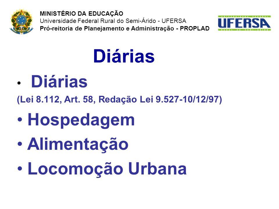 Diárias (Lei 8.112, Art. 58, Redação Lei 9.527-10/12/97) Hospedagem Alimentação Locomoção Urbana Diárias MINISTÉRIO DA EDUCAÇÃO Universidade Federal R