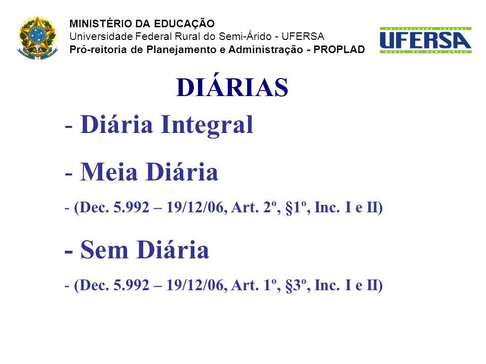 DIÁRIAS - Diária Integral - Meia Diária - (Dec. 5.992 – 19/12/06, Art. 2º, §1º, Inc. I e II) - Sem Diária - (Dec. 5.992 – 19/12/06, Art. 1º, §3º, Inc.