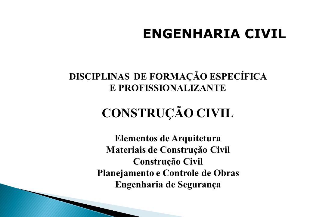 ENGENHARIA CIVIL DISCIPLINAS DE FORMAÇÃO ESPECÍFICA E PROFISSIONALIZANTE CONSTRUÇÃO CIVIL Elementos de Arquitetura Materiais de Construção Civil Const