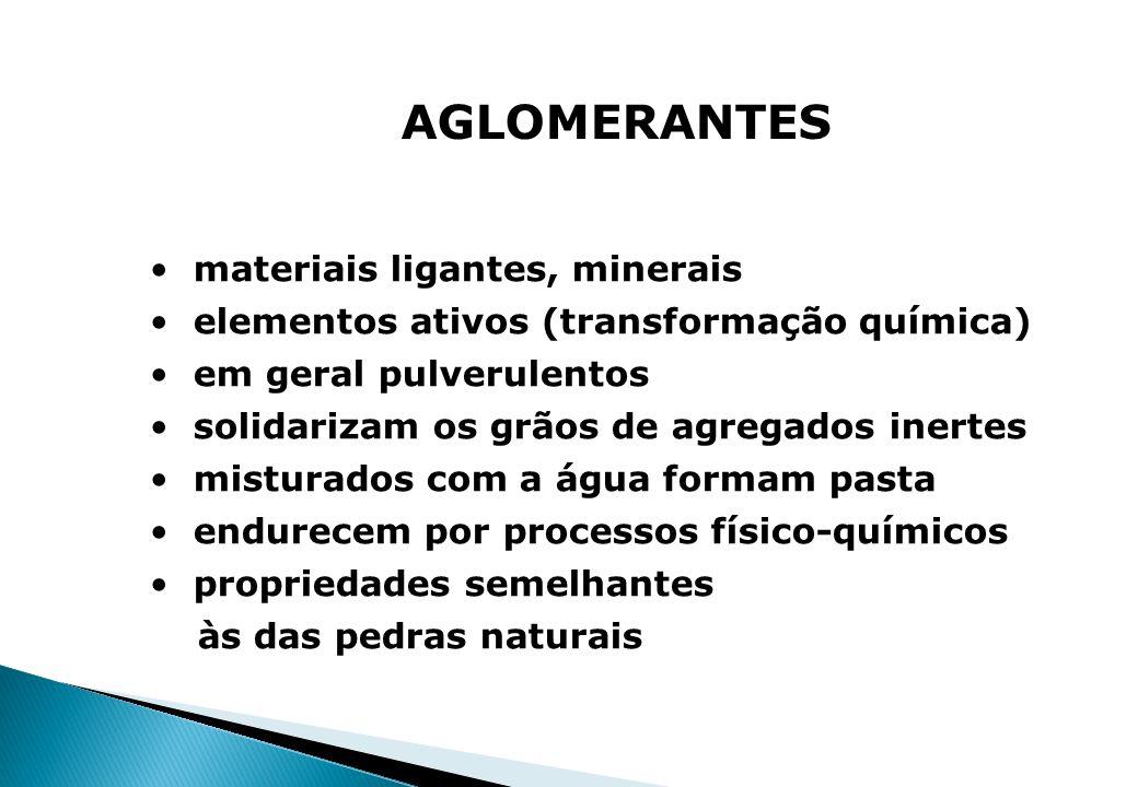 AGLOMERANTES materiais ligantes, minerais elementos ativos (transformação química) em geral pulverulentos solidarizam os grãos de agregados inertes mi