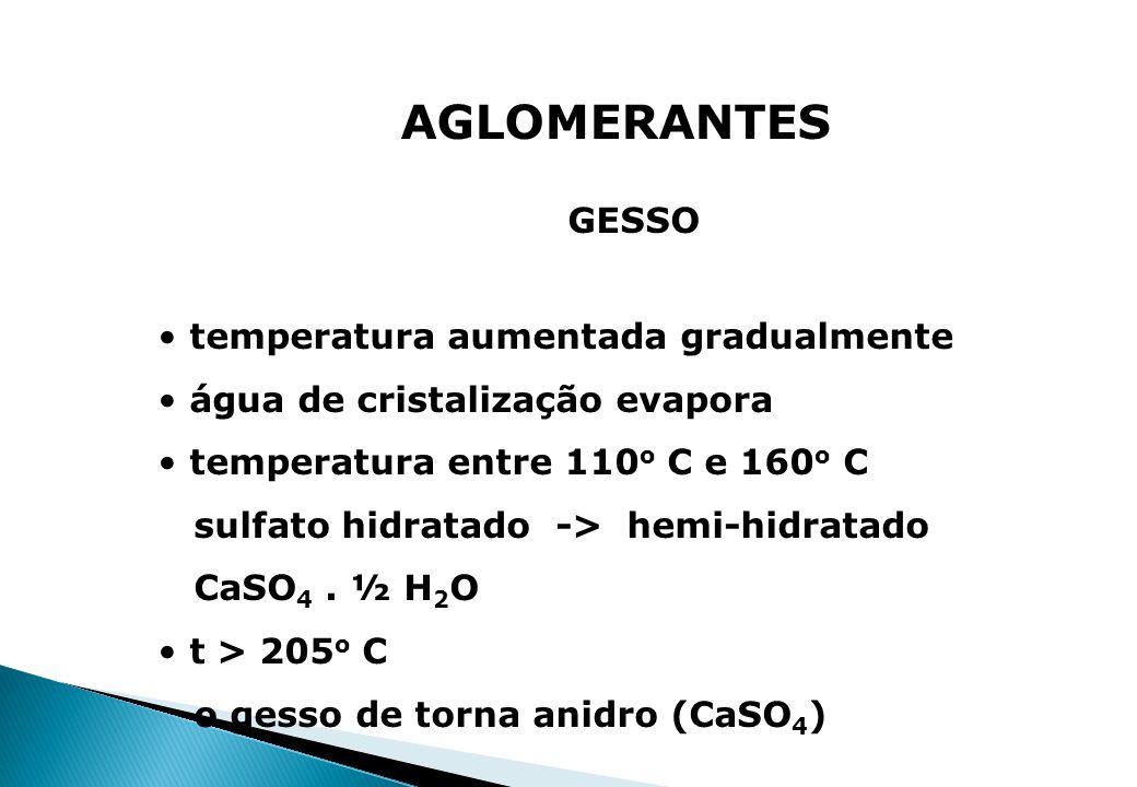 AGLOMERANTES GESSO temperatura aumentada gradualmente água de cristalização evapora temperatura entre 110 o C e 160 o C sulfato hidratado -> hemi-hidr