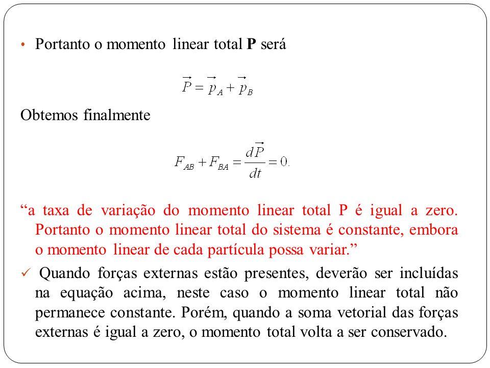 Portanto o momento linear total P será Obtemos finalmente a taxa de variação do momento linear total P é igual a zero. Portanto o momento linear total