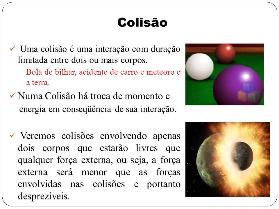 Colisão Uma colisão é uma interação com duração limitada entre dois ou mais corpos. Bola de bilhar, acidente de carro e meteoro e a terra. Numa Colisã