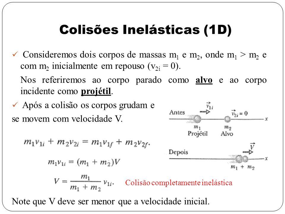 Consideremos dois corpos de massas m 1 e m 2, onde m 1 > m 2 e com m 2 inicialmente em repouso (v 2i = 0). Nos referiremos ao corpo parado como alvo e