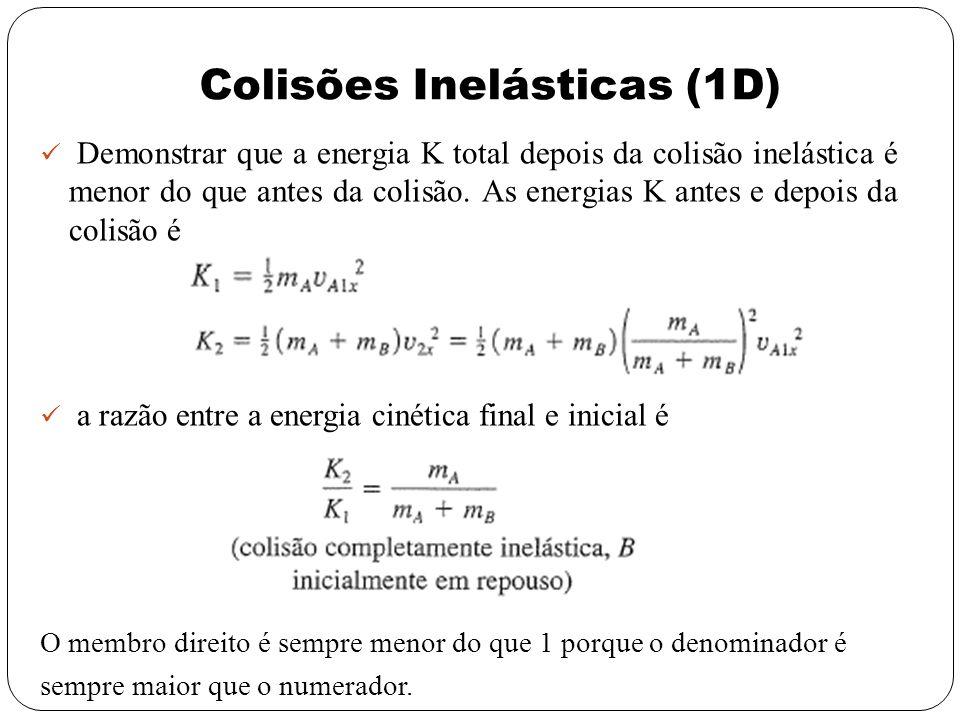 Colisões Inelásticas (1D) Demonstrar que a energia K total depois da colisão inelástica é menor do que antes da colisão. As energias K antes e depois