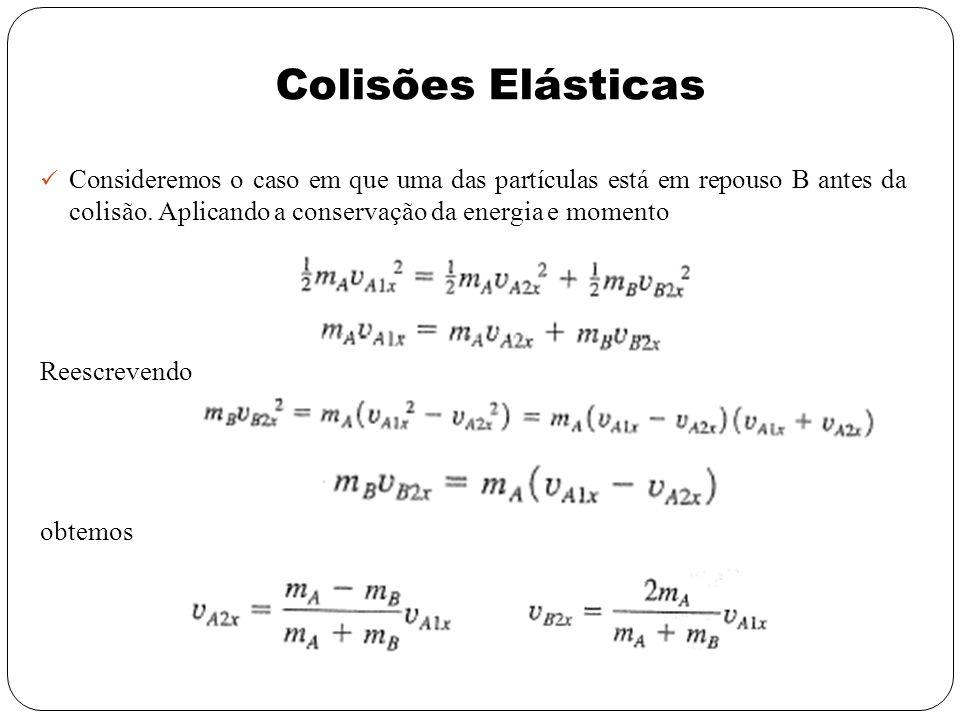 Consideremos o caso em que uma das partículas está em repouso B antes da colisão. Aplicando a conservação da energia e momento Reescrevendo obtemos Co