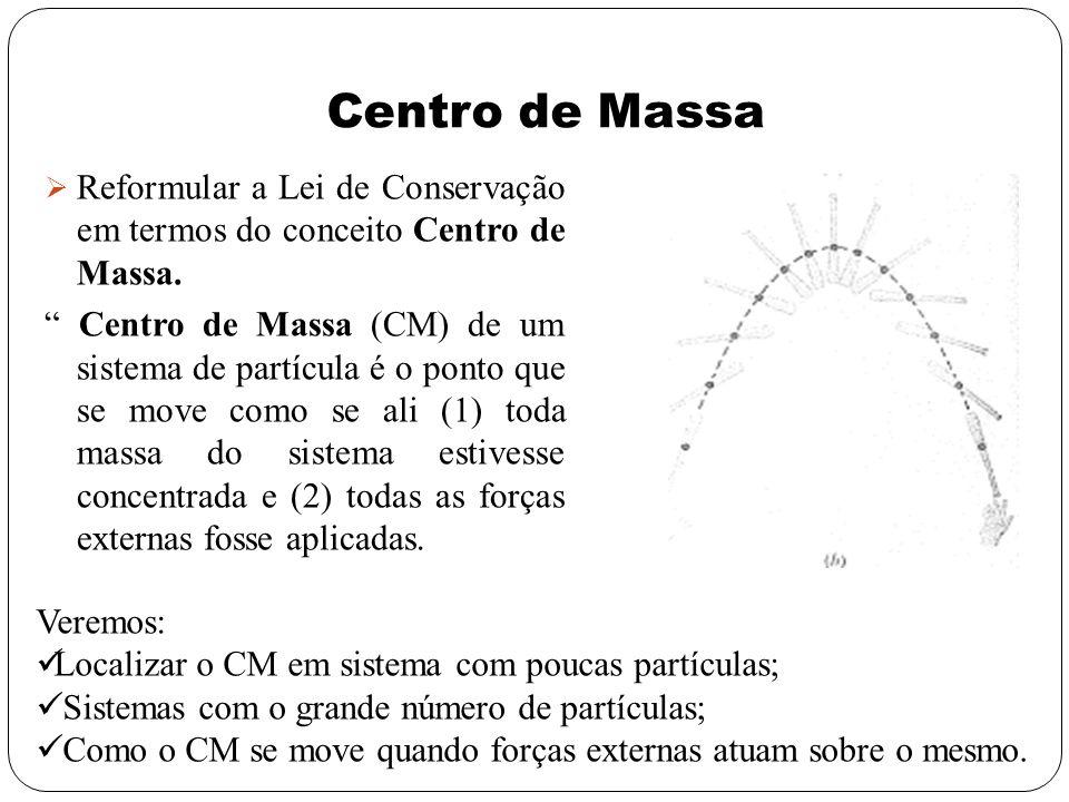 Centro de Massa Reformular a Lei de Conservação em termos do conceito Centro de Massa. Centro de Massa (CM) de um sistema de partícula é o ponto que s