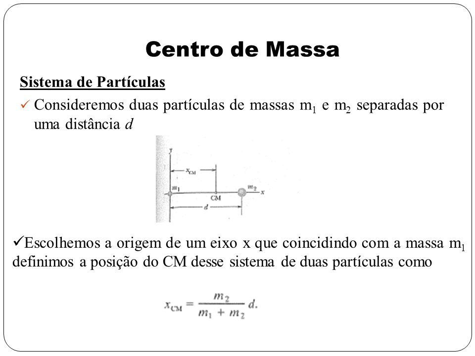 Centro de Massa Sistema de Partículas Consideremos duas partículas de massas m 1 e m 2 separadas por uma distância d Escolhemos a origem de um eixo x