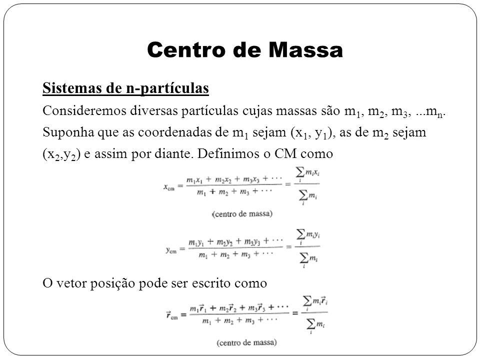 Centro de Massa Sistemas de n-partículas Consideremos diversas partículas cujas massas são m 1, m 2, m 3,...m n. Suponha que as coordenadas de m 1 sej