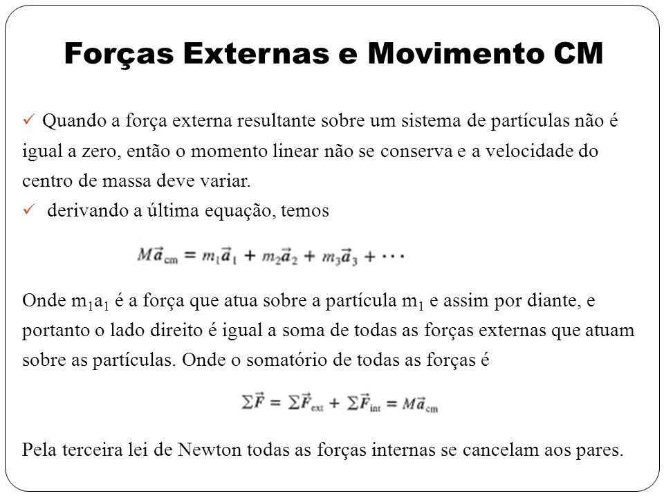Forças Externas e Movimento CM Quando a força externa resultante sobre um sistema de partículas não é igual a zero, então o momento linear não se cons