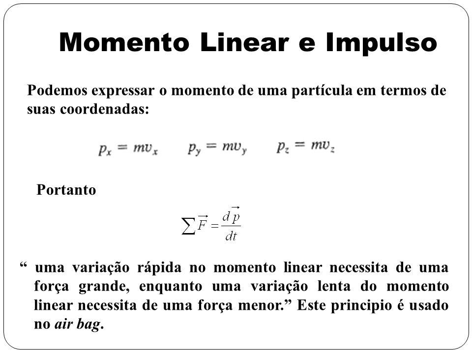 Portanto Momento Linear e Impulso uma variação rápida no momento linear necessita de uma força grande, enquanto uma variação lenta do momento linear n