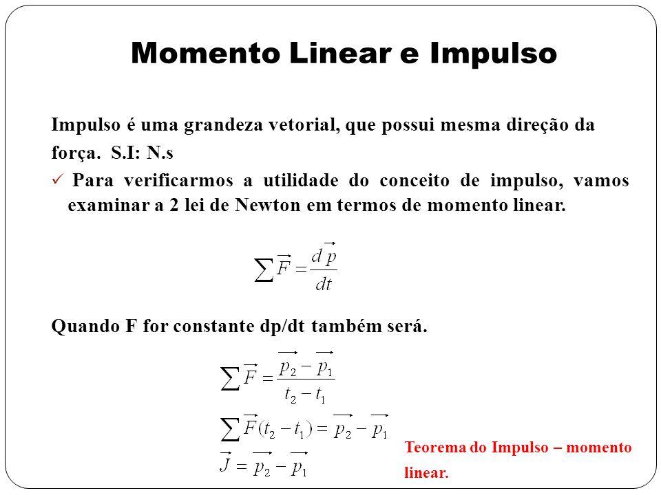 Impulso é uma grandeza vetorial, que possui mesma direção da força. S.I: N.s Para verificarmos a utilidade do conceito de impulso, vamos examinar a 2