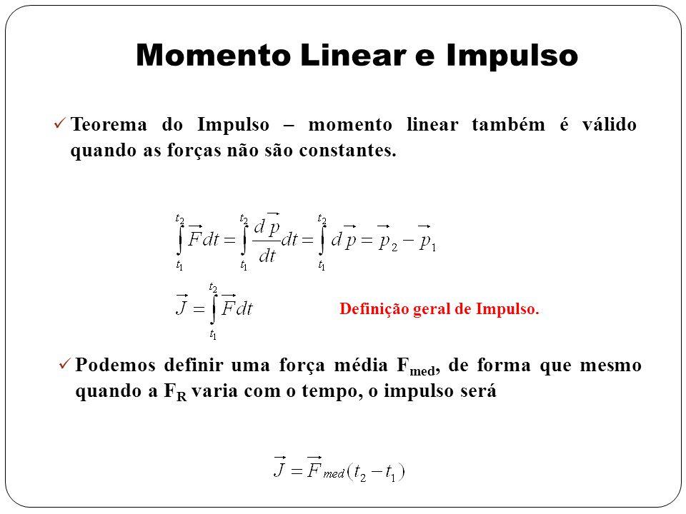 Teorema do Impulso – momento linear também é válido quando as forças não são constantes. Definição geral de Impulso. Podemos definir uma força média F