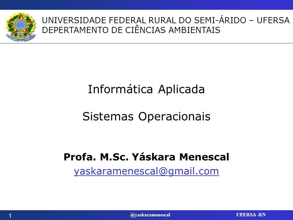 @yaskaramenescal UFERSA -RN Objetivos Descrever as funções de um sistema operacional.
