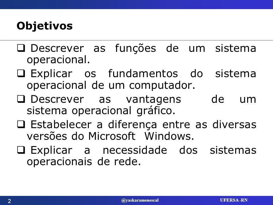 @yaskaramenescal UFERSA -RN Objetivos Descrever os métodos de alocação de recursos em grandes computadores.