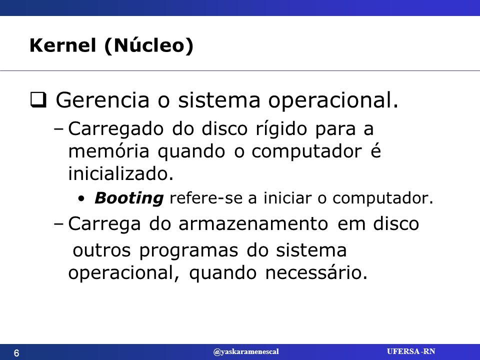 @yaskaramenescal UFERSA -RN Sistemas Operacionais para Computadores Pessoais Plataforma: combinação de hardware de computador e software de sistema operacional.