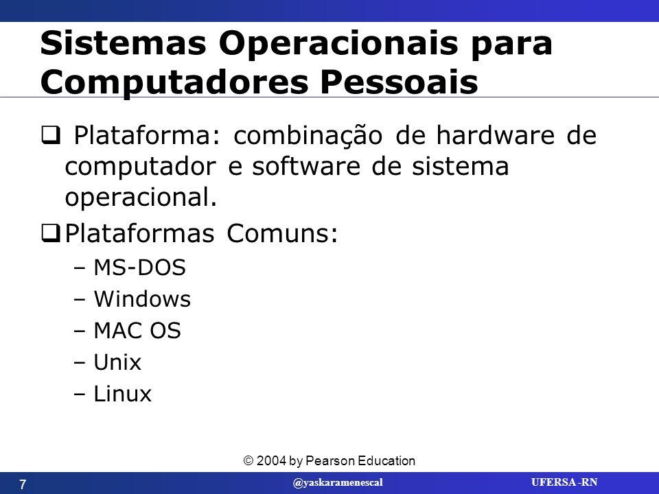 @yaskaramenescal UFERSA -RN Windows 2000 A última geração do Windows NT.