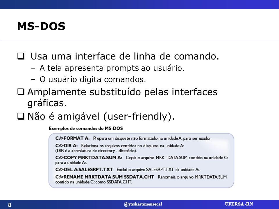 @yaskaramenescal UFERSA -RN Microsoft Windows Iniciou-se como um ambiente operacional para o MS-DOS.