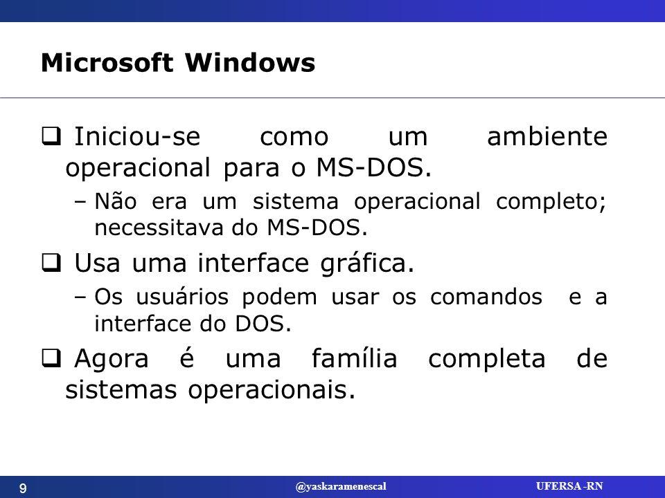 @yaskaramenescal UFERSA -RN Ambiente Operacional MS-DOS Windows 3.1 Uma camada adicionada por cima do DOS.