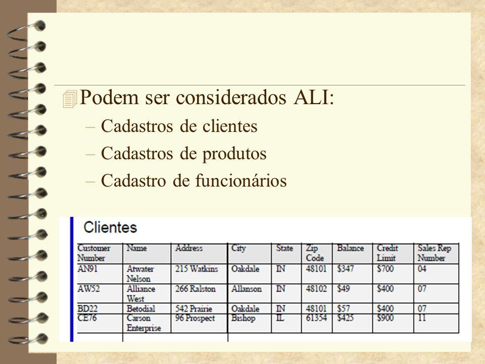 4 Podem ser considerados ALI: –Cadastros de clientes –Cadastros de produtos –Cadastro de funcionários