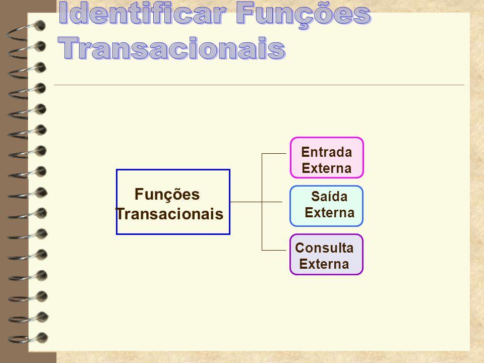Entradas Externas Uma Entrada Externa é um processo elementar que processa dados ou informações de controle que vem do lado de fora da fronteira da aplicação.