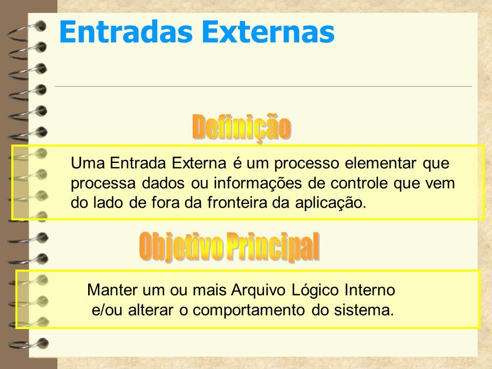Entradas Externas Uma Entrada Externa é um processo elementar que processa dados ou informações de controle que vem do lado de fora da fronteira da ap