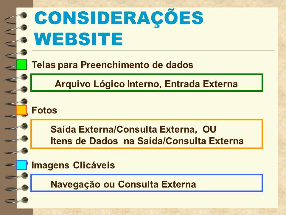 CONSIDERAÇÕES WEBSITE Sons Itens de Dados na Entrada/Saída/Consulta Externa Arquivos para Download Saída Externa/Consulta Externa Capacidade de enviar e-mail Saída Externa/Consulta Externa